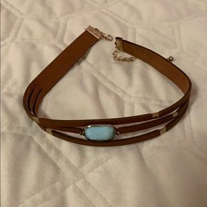 Faux leather adjustable choker necklace